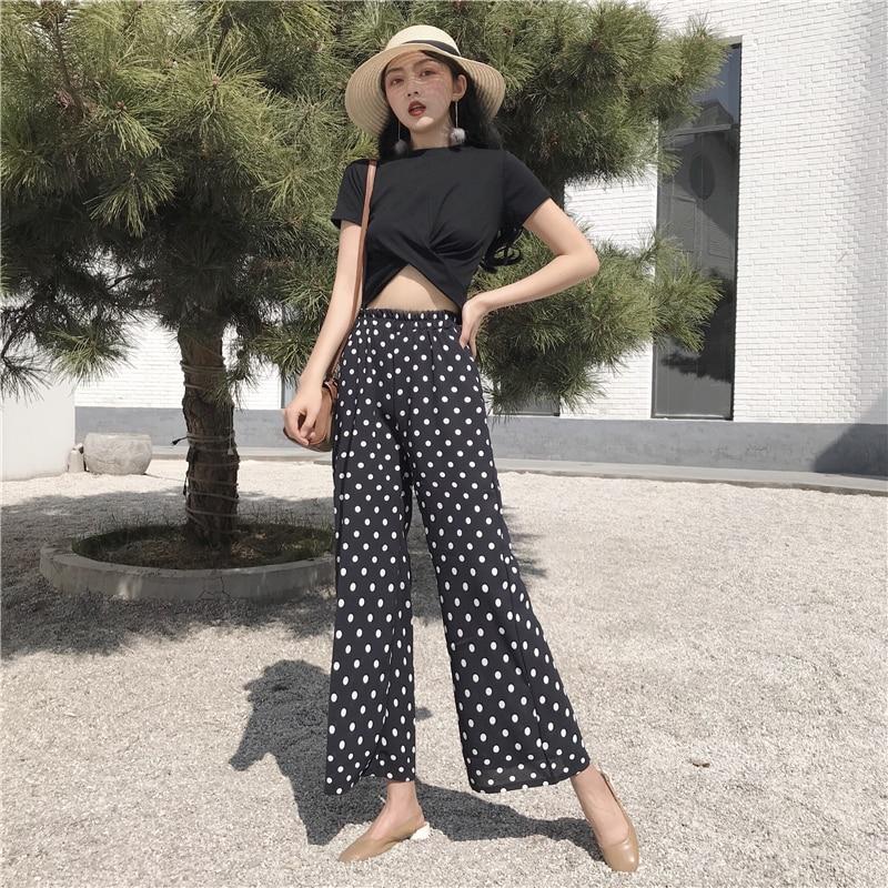 2018 Women Two Piece Set Casual Summer Polka Dot Women 2 Piece Set Top and Pants Cheap Clothes for Women 1