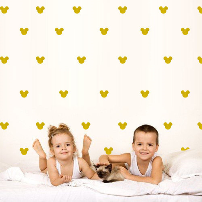 150pcs INS North European style 5X4cm Mickey Head Boys wall stickers bedside background Princess room wall stickers D852 ...