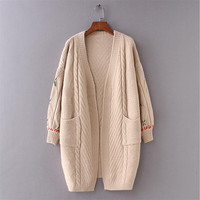 Sugar Colors Pink Beige Fashion Coat 2019 New Arrival Cardigans Women Pockets Patchwork Sweaters Casual Knitted Art Sweater P