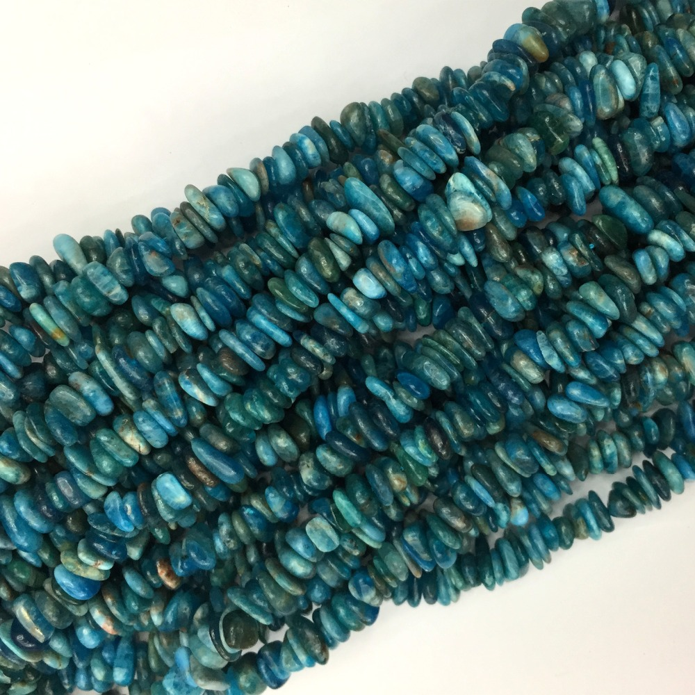 """Natural Genuine Blue Green Apatite Nugget Chip Loose Beads Fit Jewelry 3x8mm 15"""" 05780"""
