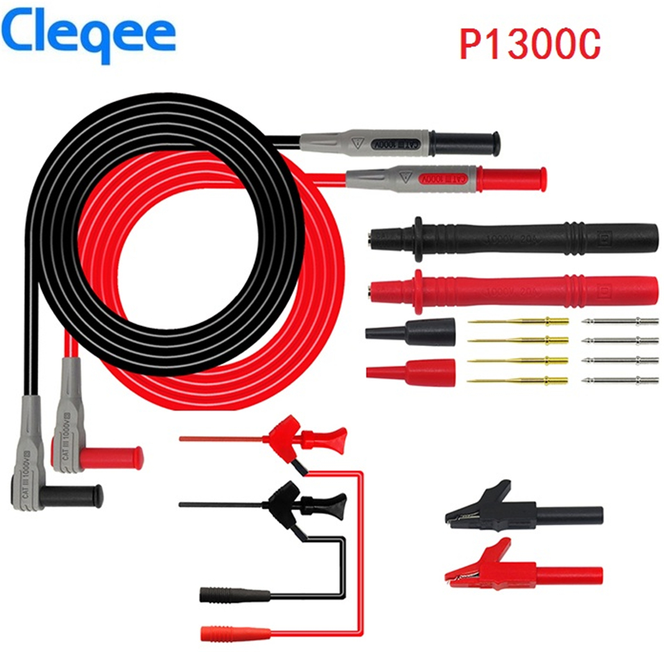 Cleqee P1300B P1300C 12-em-1 Super Multímetro Braçadeira kits de Teste Multi Medidor de Chumbo Probe Sonda Substituível + jacaré Clips