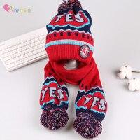 2pcs Knit Cotton Baby Hat Scarf Set Autumn Winter Warm Unisex Baby Kid Cap Set Adjustable