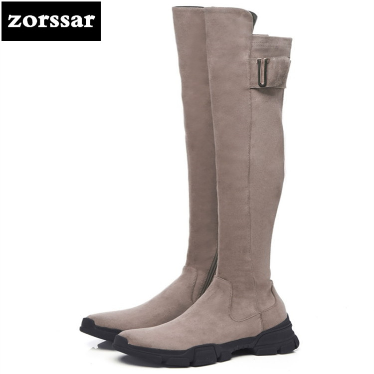 {Zorssar} Fashion Knee High Snow Boots Sexy Over The Knee Boots Cow Suede Leather Stretch Thigh High Boots For Women flat boots