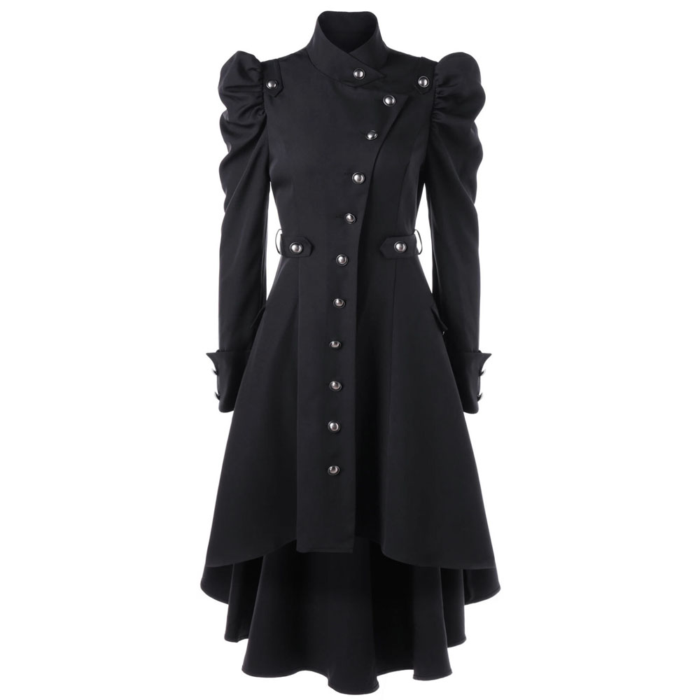 Autumn Winter Gothic   Trench   England Style Women Stand Collar Overcoats Slim Long Skirt Hem Buttons Female Office Coats Plus Size