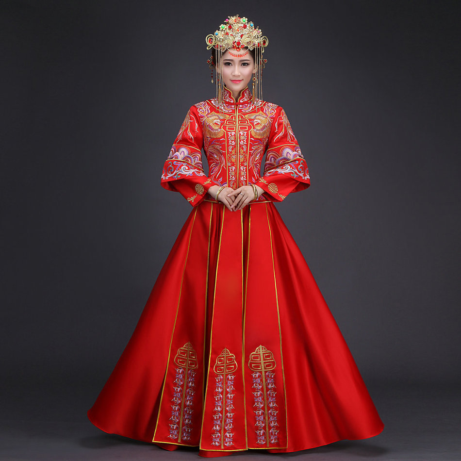 Chinese Wedding Gowns: Red Gold Phoenix Embroidery Dresses Female Traditional