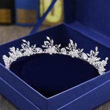 Fashion elegant flowers crystal CZ zircon Princess crown wedding bride dinner banquet Beauty tiaras hair jewelry free shipping