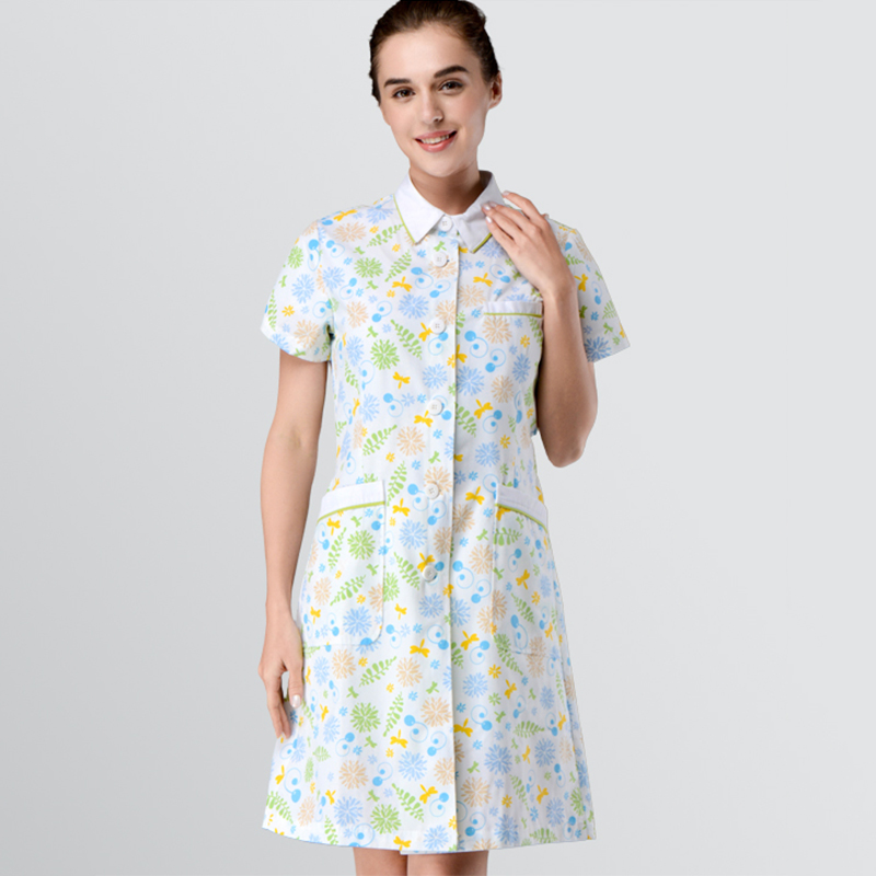 Gorgeous Nurse Uniform Plastic Surgeon Dresses Medical Scrub Dress Floral for Women Summer Stretch Quality Doctor Workwear image