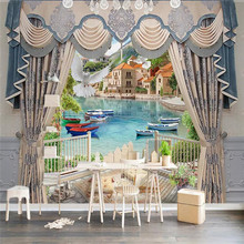Customized 3d mural stereo ball European curtain scenery TV background wall decoration painting wallpaper photo