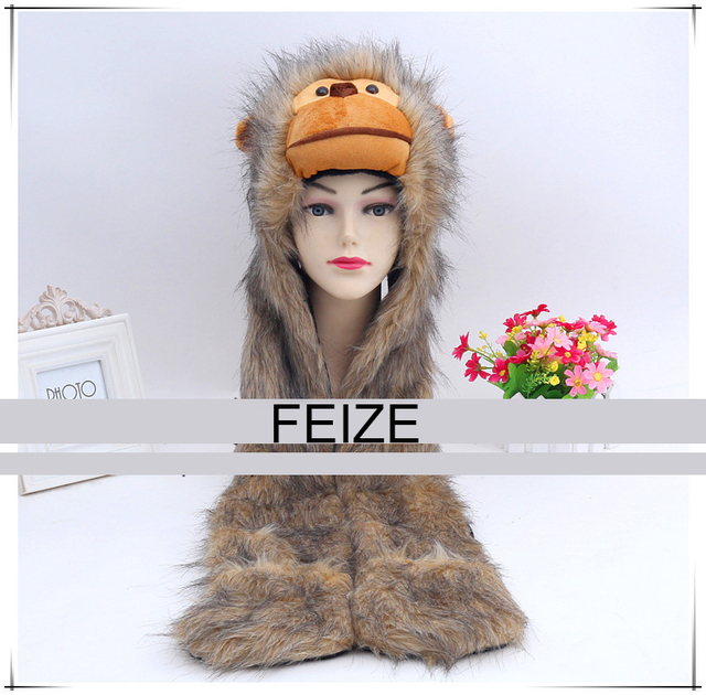 2016 nuevo mono meses big blanco animal lindo negro feux tapa sombrero de piel