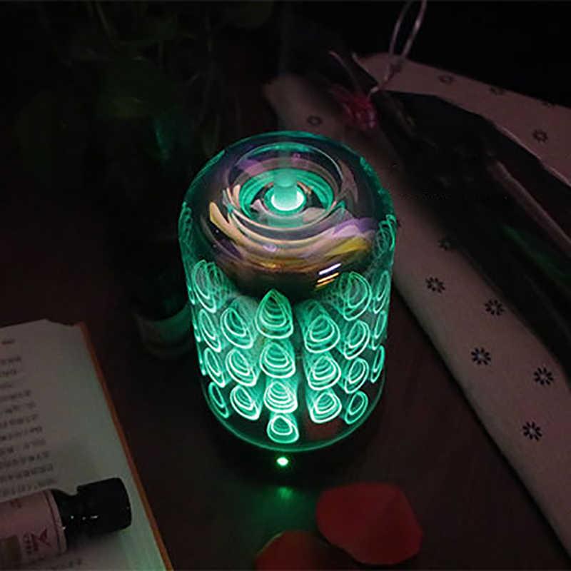100 мл ароматерапия эфирные масла диффузор Электрический нагрев увлажнитель воздуха Павлин узор 7 цветов меняющийся светодиодный домашний ночной Lig