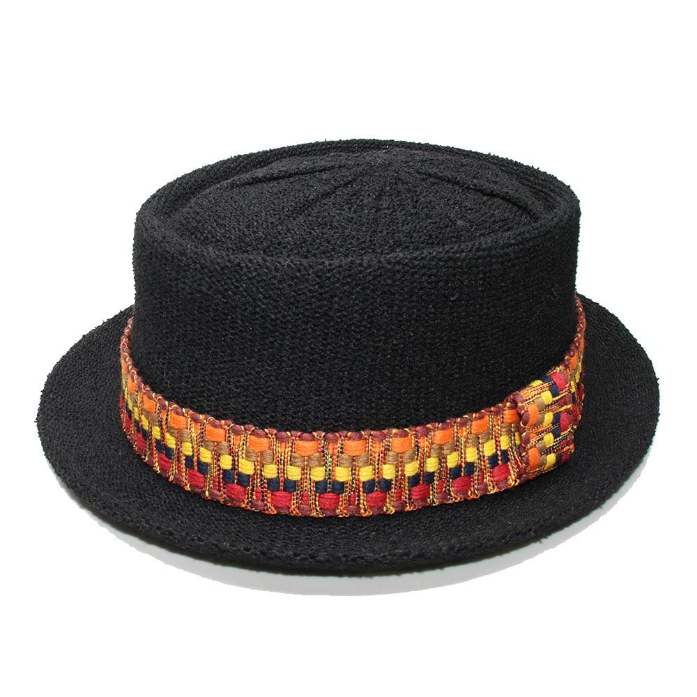 LUCKYLIANJI Summer Retro Women Men's Polyester Dome Flat Pork Pie Cap Sun Beach Jazz Pork-pie Hat Vintage Braided Band (56-58cm)