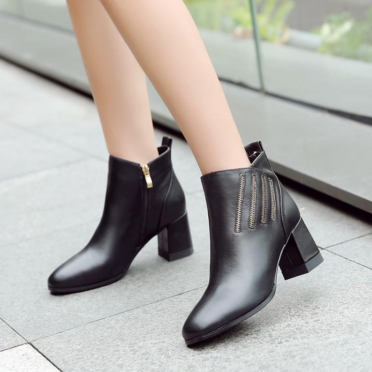 Blanc Noir Noir Chaussures blanc Hiver Talon En Quatre Femme Botas Chunky Bottes Nouvelle Zipper Femmes Rond Bout Cuir Dames Pour Côté Chaussons Cheville qE155Un