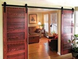 DIYHD 8ft-13ft double sliding barn door hardware rustic black double french door cabinet door track kit