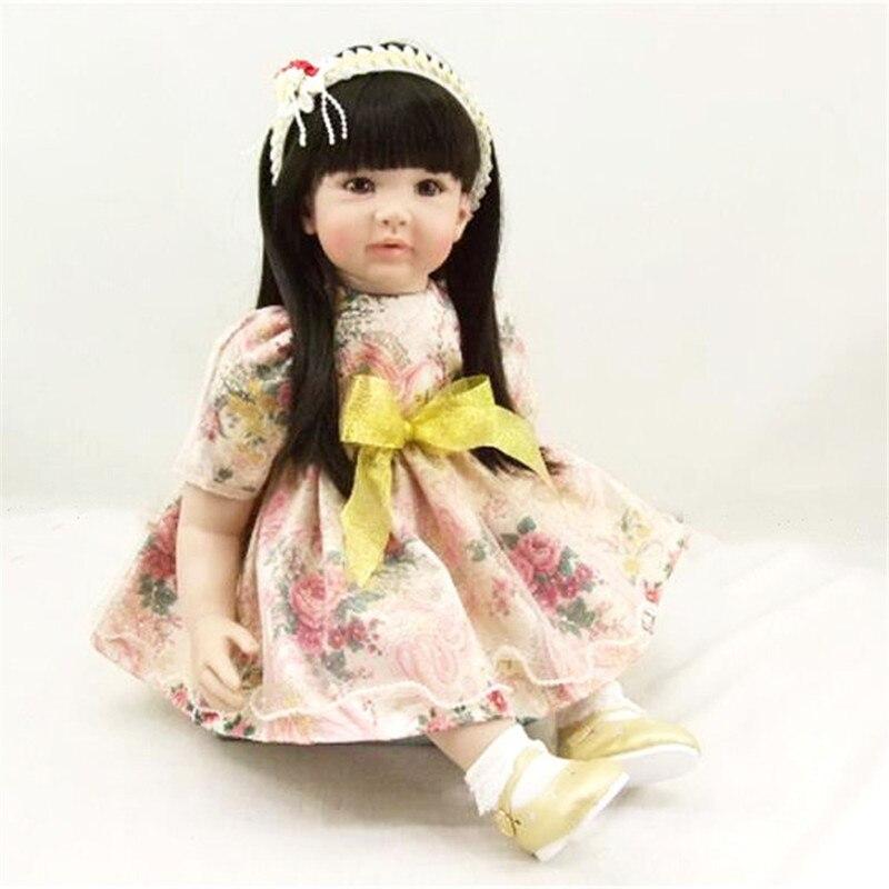 22 inch 55 cm baby reborn Silicone dolls lifelike doll reborn toys Fashion flower yarn skirt