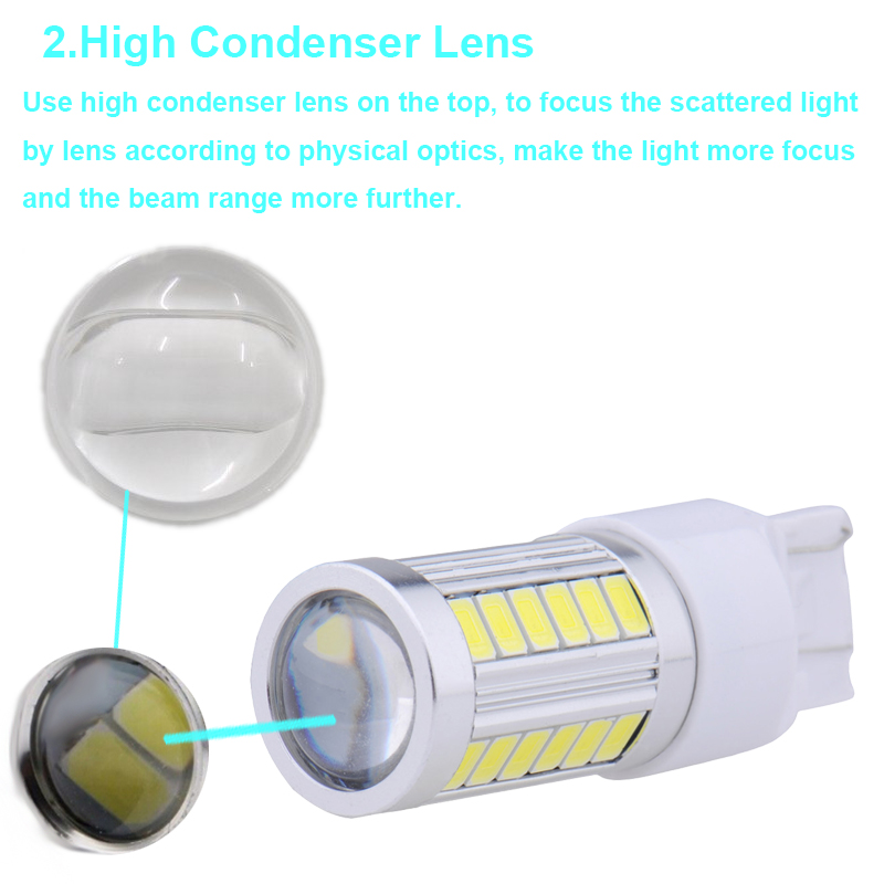 4X Super Bright T20 W21/5W 7443 7440 W21W 33 SMD 5630 5730 Car Led Turn Signal Lights Brake Tail Lamp 33SMD Auto Reverse Bulb