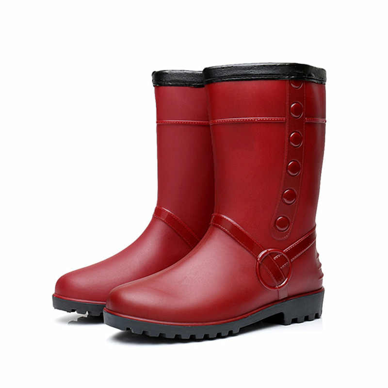 LAKESHI Fashion Rain Boots Womens Non-slip Plush Keep Warm Snow Boots For Womens Water Shoes New Long Boots Women Shoes