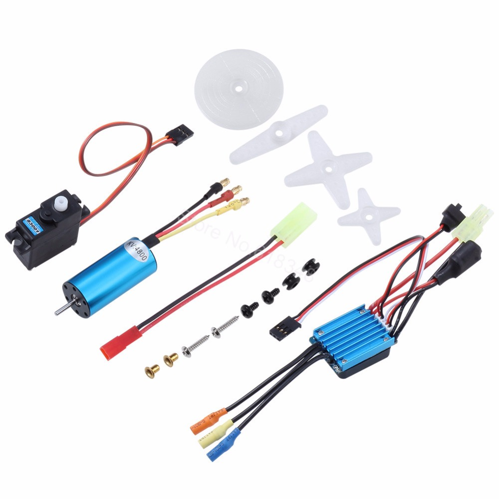 4800KV Brushless Motor Engine & 25A Brushless ESC + Servo Kit For 1/18 Scale WLtoys A959 A949 A959 A969 A979 Parts 390 Upgrade