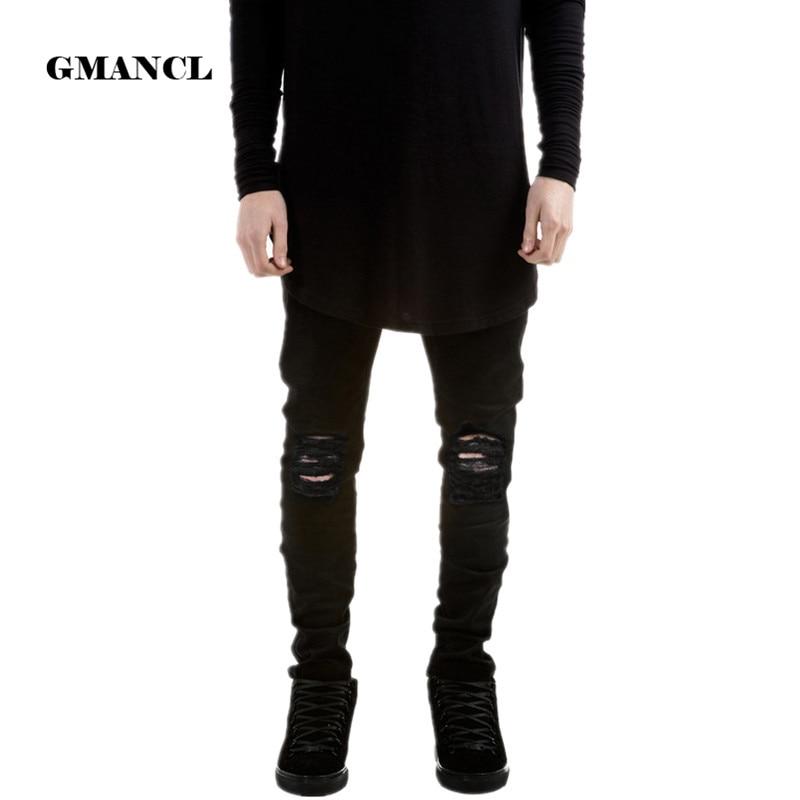 Дизайнер Фирменная Новинка Для мужчин черные джинсы Узкие рваные узкие Мода хип-хоп Добычу человек Повседневное джинсовые Байкер Брюки для девочек Комбинезоны для девочек Jogger
