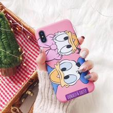 Cutie Cartoon Mickey Minnie Daisy IMD Phone Matte Soft TPU Back Cover Case For iPhoneXsmax 8plus 6s 7plus Skinny Shell Protector