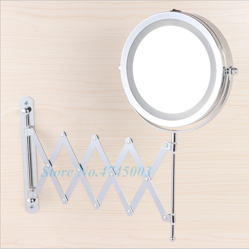 Bath Mirror LED Cosmetic Mirror 1X/2X Magnification Wall Mounted Adjustable Makeup Mirror Dual Arm Extend 2-Face Bathroom Mirror
