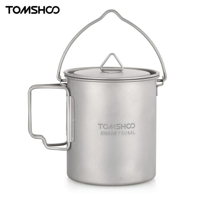 TOMSHOO Ultralight 750ml Titanium Mug Pot Portable Titanium Water Mug Cup with Lid Foldable Handle Outdoor Camping Cooking
