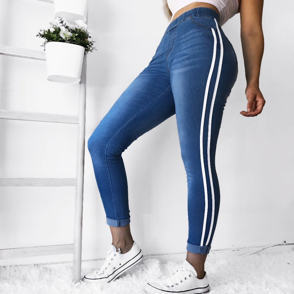 High Waist Jeans Woman Side Striped Patchwork Skinny Jeans All Matched Casual Pants Brief Slim Winter Boots Jeans Plus Size 5XL