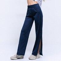2019 New Spring Casual Pants Side Split Button Pant Women Blue High Waist Straight Trousers Sweatpants Pantalon Femme Streetwear