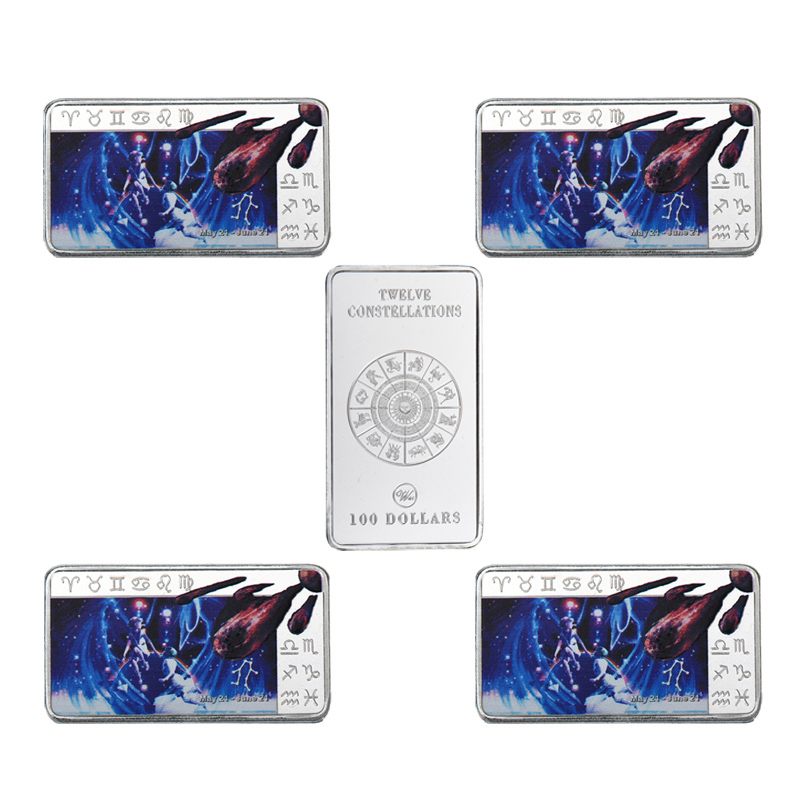 WR Gemini 12 Constellation Souvenir Bar Best Birthday Gift For Husband 100 Dollar 9999 Silver Plated Fake Bars Art Crafts In Non Currency Coins From Home