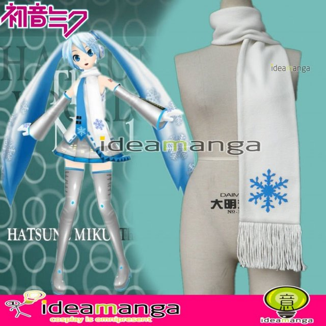 [ideamanga]V+ VOCALOID  Hatsune Miku snow cos girl's Cosplay scarf muffler neckerchief Female halloween party gift  freeshipping
