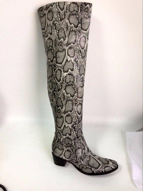 10ecdca7c3e LANSHITINA moda mujeres mayores de rodilla botas altas de gladiador botines  de caña alta de piel