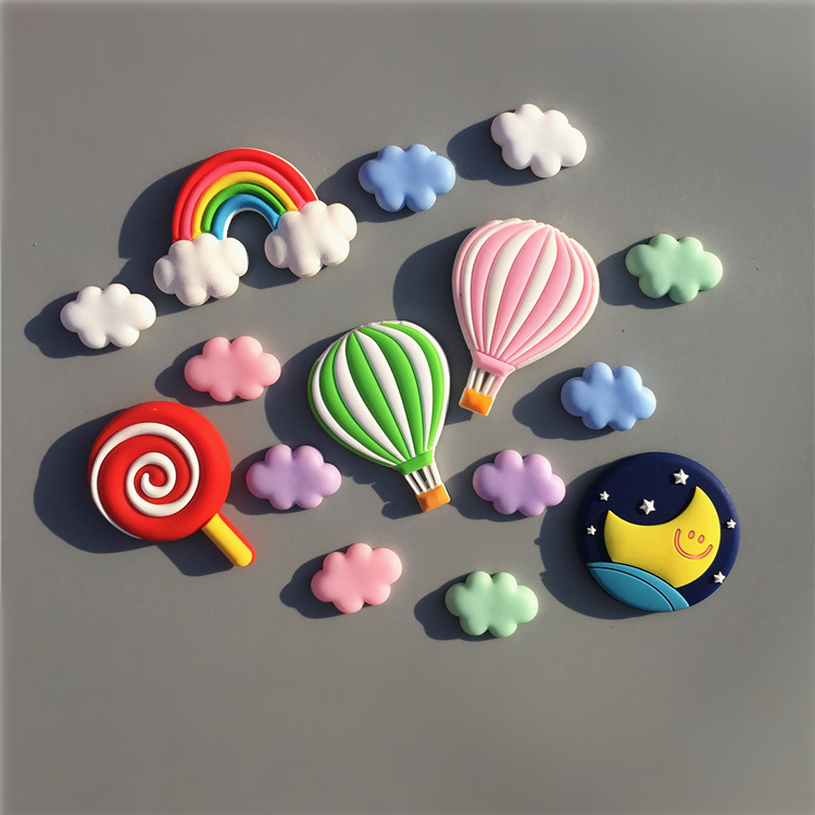 1 Set 3D resin fridge magnets Hot air balloon cloud rainbow shape magnetic refrigerator stickers Message holder home decor