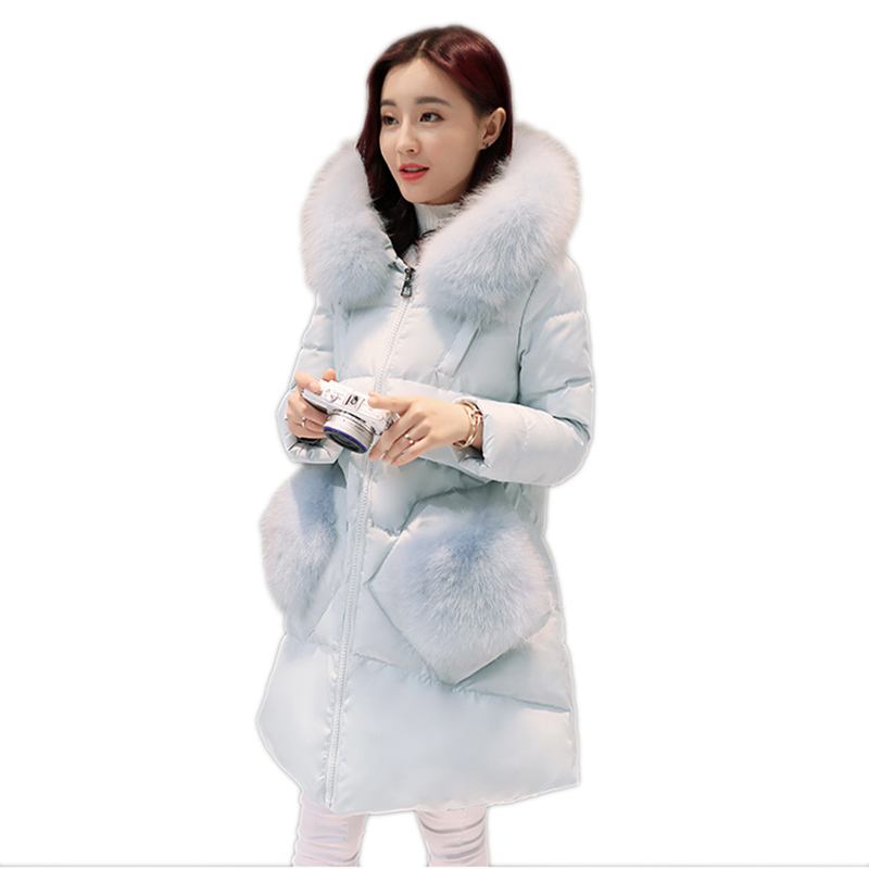 Winter women down jacket solid color plus size mid-long female outerwear Upscale hooded fur collar warm ladies down jacket ll691 brand fashion long winter jacket women slim solid hooded fur collar zippers ladies long jacket warm cotton coat plus size xxxl