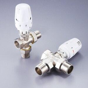 """Image 5 - 1/2 """"3/4"""" 1 """"messing drei Weg Thermostatventil DN15 DN20 DN25 Automatische Temperatur Regelventil Fußbodenheizung heizung"""