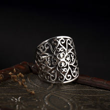 Женское кольцо с тотемным узором из чистого серебра в стиле