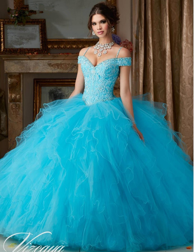 V Neck Blue Quinceanera for Girls 15 Years Luxury Beaded Applique Ball Gown vestido 15 anos