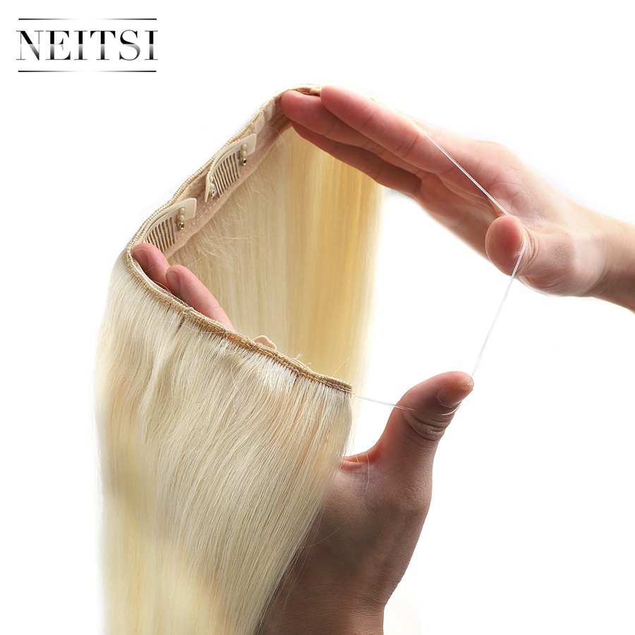 Neitsi Straight Halo Hair 20'' 100g Remy Double Drawn Hair Invisible Wire Clip In Human Hair Extensions