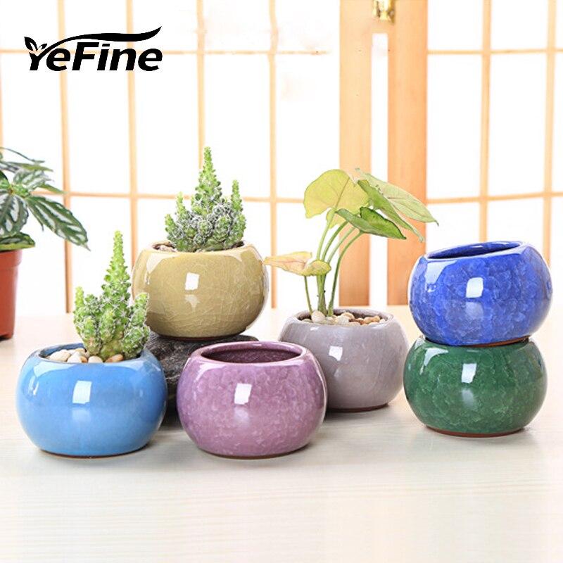 YeFine Chinese Style Ice Crack Porcelain Bonsai Pots For Succulent Plants Home And Garden Decorative Planter Flower Pots Ceramic