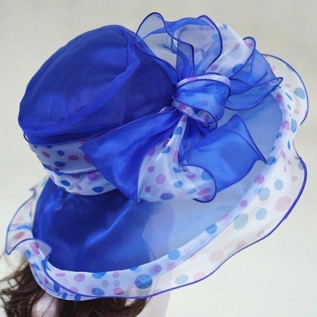 Органза Лето Вс Шляпы для Женщин Широкими Полями Шляпы Дискеты Дамы Пляж HatsFemale Церкви Шляпы Участник Шляпы A413