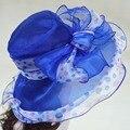 Organza Verano Sombreros de Sun de Las Mujeres de Ala Ancha Floppy Hats Ladies Beach HatsFemale Iglesia Sombreros Sombreros A413