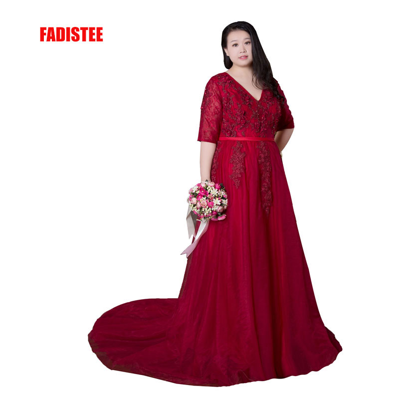 FADISTEE New arrival elegant prom party   evening     dresses   Pearls flowers gown lace V-neck half sleeves plus size 18W 20W 22W