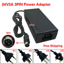 Free Shipping 24v3a 3pin power adapter AC/DC power adapter 24v 2.5a 24v 3a power supply for  Label Printer 3 hole power adapter