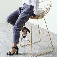 2 шт. антикоррозионные Ретро высокий табурет Nordic Золотой усиленный барный стул прочный металлический каркас и Мягкий хлопок Pad