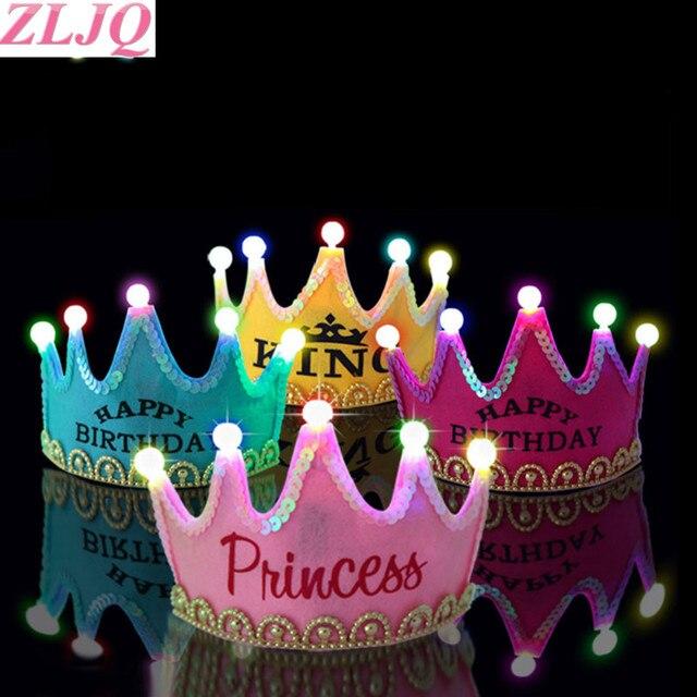 Zljq 1pcs Led Light Happy Birthday Princess Hats Crown King Princess