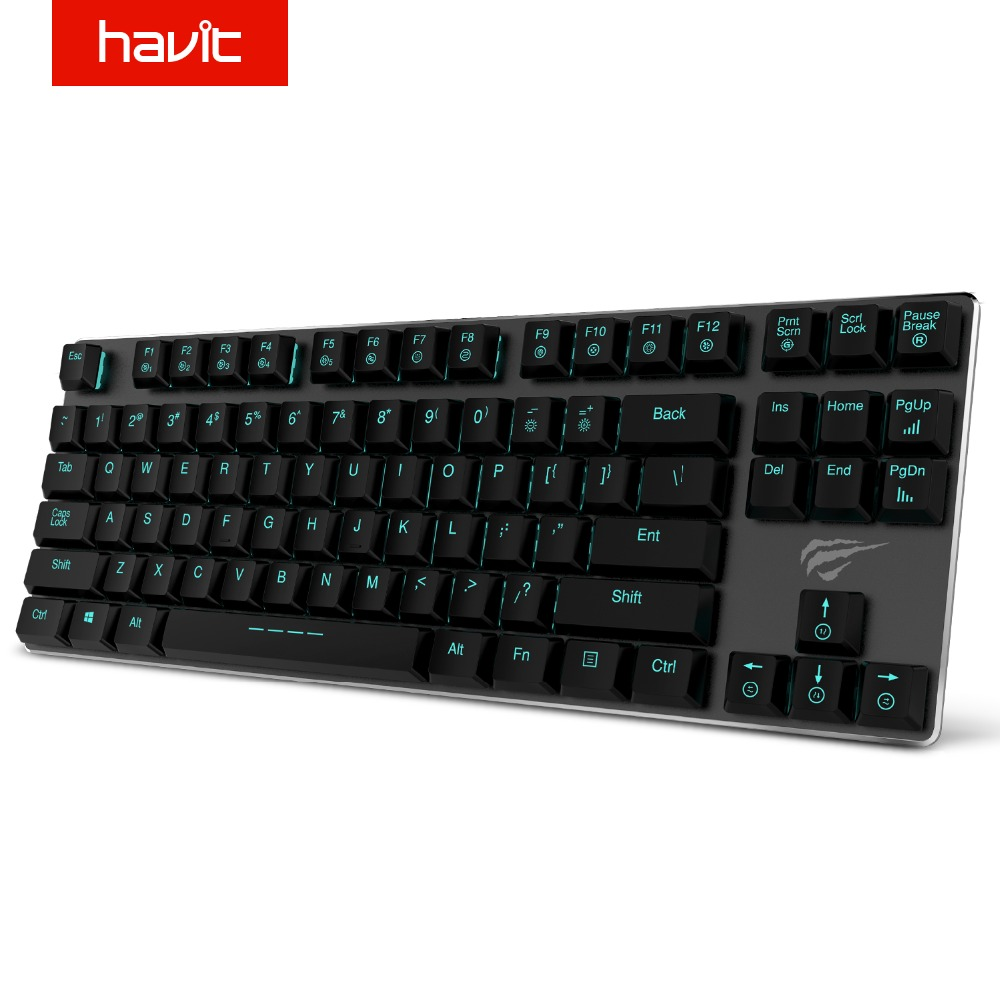 HAVIT Mechanical Keyboard 87 Keys Russian English Metal Keyboard Wired Mini Gaming Keyboard Blue Switches for PC HV-KB390L rainbow gaming backlight keyboard 87 keys colorful mechanical keyboard with blue black switches desktop for pc laptop