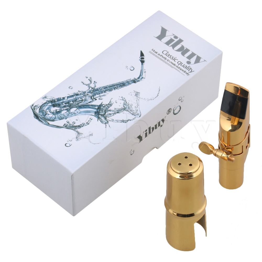 Yibuy Copper Gold-plated 6# bE Alto Saxophone Mouthpiece Cap Ligature advanced selmer a series alto e flat eb sax metal mouthpiece 7 for saxophone beginner gold plated saxe