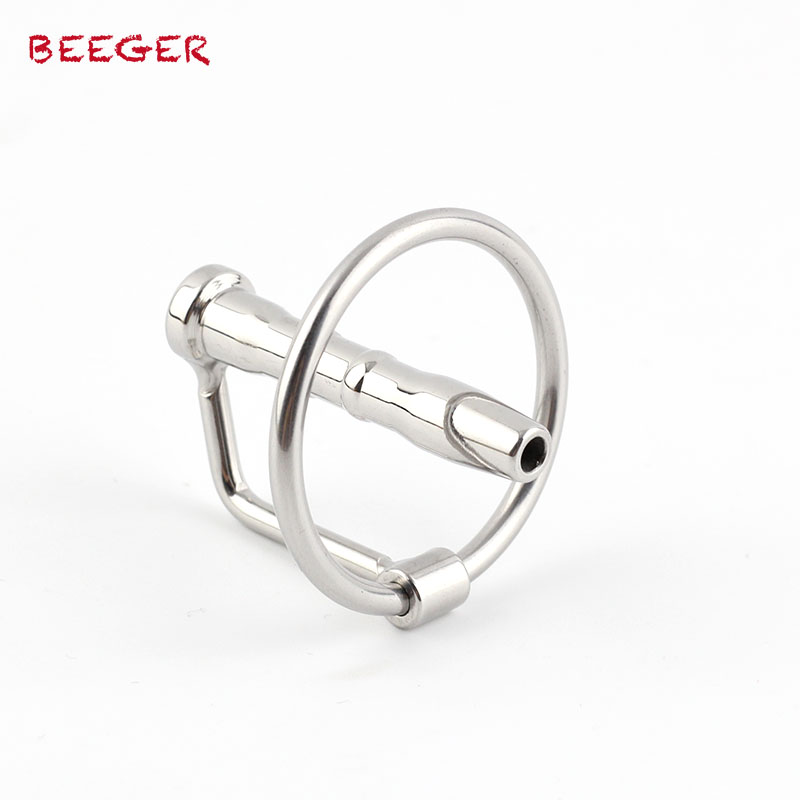 BEEGER Flared Cum Through Penis Plug With Glans Ring, Sensually Ribbed Hollow Urethral Sound