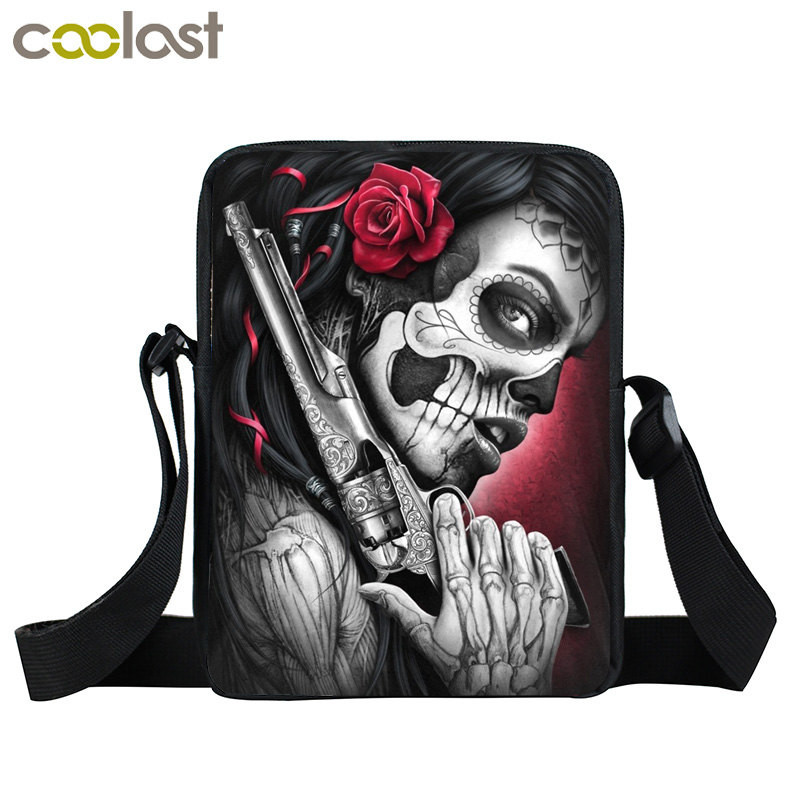 Us 7 07 48 Off Dark Gothic Mini Messenger Bag Skull Crossbody Bags For S Boys Men Viking Warrior Pirate Kids School Punk Women Handbag In
