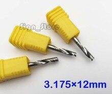 3 pièces 3.175X12mm Carbure CNC Routeur Bits Simple Cannelure Outils Cuivre Acrylique PVC Bois Gravure Bits