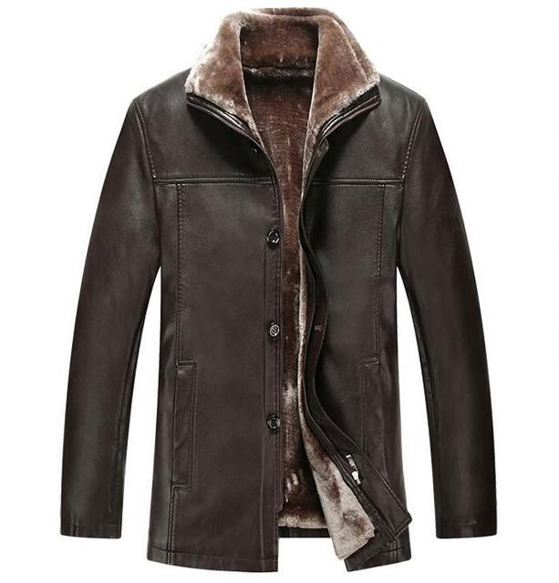 Новые Зимние Кожаные Куртки Мужчины Искусственного Меха Пальто Имитация Овчины Случайные Мотоцикл Кожаной Куртке Утолщаются Верхней Одежды Пальто
