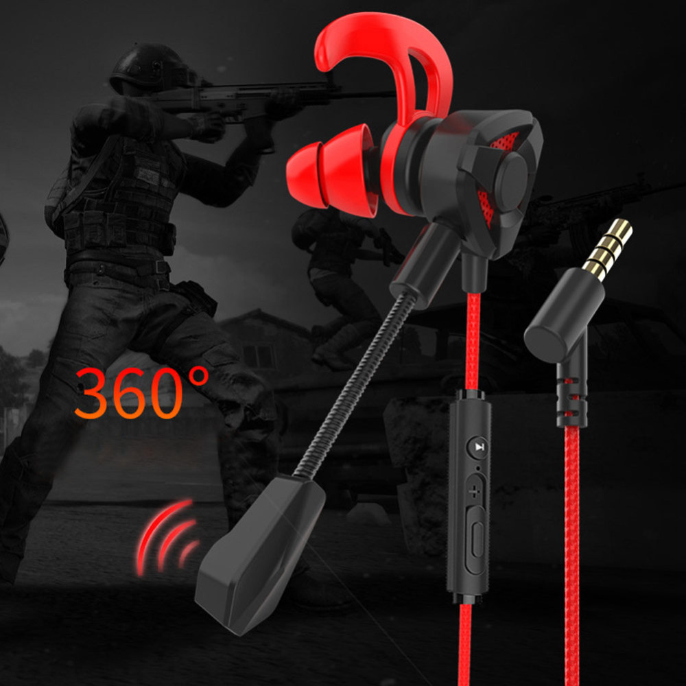 New Hot Dual-use 3.5mm Wired In-Ear Earphone Gaming Mic Stereo Ear Hook Headphone For PS4 Xbox